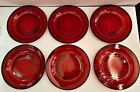 6 Vintage Arcoroc France Red Ruby Cranberry Glass Salad Plates
