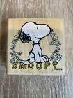 Peanuts Happy Snoopy wood mount rubber stamp Stampabilities F1160 Floral Snoopy