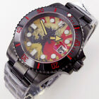 40mm Wave dial sapphire glass Japan NH35 automatic mens watch black PVD case