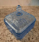 Vintage ICE BLUE Tiara Indiana Glass HONEY BEES  HIVES Footed Candy Dish  Lid