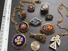 Lot of 10 Vintage Micro Mosaic Pins Brooches Guitar Necklaces Ring Trinket Box