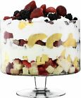 Clear Glass Large Glass Footed TRIFLE Bowl Dessert Salad Fruit H22xD23 4L