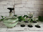 VINTAGE ART DECO SMALL FROSTED GREEN GLASS  GILT DECANTER  GLASSES SET