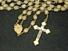 Vintage Rosary Clear Glass Encased in Brass Color Filigree Caps Pearlized Lucite