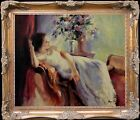Woman Lying On Sofa Large Size Oil Painting + Wood Frame