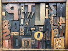 Antique Letterpress Printers WOOD TYPE Mix 55 Pieces w Full Alphabet  numbers
