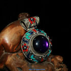 Rare Chinese Old Tibet Silver Hand Cloisonne Inlaid Zircon Pendant