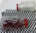 2 Libbey Pig Jars With Clear Marbles And Red Glass Stones  Lids Vintage VGVC