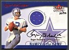 ROGER STAUBACH 2001 FLEER GENUINE NAMES OF THE GAME JERSEY AUTO AUTOGRAPH 50