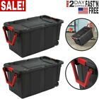 2 PACK Latch Tote Storage Box Wheeled 40 Gallon Container Case Wheels Large Big