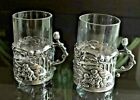 STUNNING Antique PAIR STERLING SILVER SHOT GLASS HOLDERS w CUT CRYSTAL Cup RARE