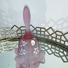 Fenton Purple Violet Bell Signed Hand Painted Floral Ruffled 1995 Art Glass N1