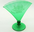 Frederick Carder STEUBEN Green Glass Optic Ribbed Fan Vase 6287 Ship Etching