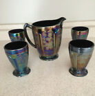 Vintage Purple Irredessent Carnival Glass 32 Oz Pitcher  4 Matching Glasses