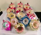 14 Vintage Hand Painted Mercury Glass Christmas Indent Ornaments Made in Poland