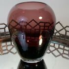Art Glass Amethyst Purple Vase Clear Bottom Eclectic Round Vintage 6 inches N1