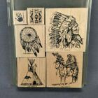 Stampin Up Dream Catcher Rubber Stamp Set of 6 Native American Tipi Headdress