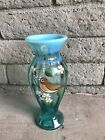 Fenton Blue Green Opalescent Spring Song Bird Glass Vase Artist Signed Painted