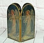 Vintage Glass Candle Shade Holder Lead Frame Angel Girl Scene Flowers Wings Deco
