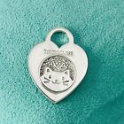 Customized Bedazzled Embellished Tiffany Silver Cat Heart Tag Charm Or Pendant