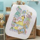 Herrschners Pre Quilted Playland Baby Quilt Kit Stamped Cross Stitch