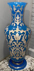 19th Century French Blue Opaline Glass Vase LARGE 1125 Inch Very Good Condition