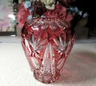 Bohemian Lead Crystal Cut to Clear Ruby Red Vase 5 High