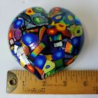 Mad Art Dichroic Art Glass Heart Paperweight Signed Beautiful