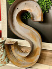 Large Salvaged 3 D Industrial Painted Rusted Metal Letter SCommercial Use