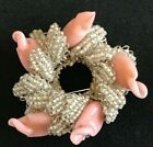 Vintage Signed Miriam Haskell silver Leaf Pink Art Glass Pearl beaded Brooch