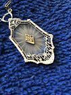 Art Deco Frosted Glass Crystal Filigree Diamond 10k White Gold Necklace Pendant