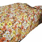 Vintage Queen Skirted Bedspread Floral Retro Orange Yellow Green Brown Quilted