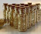 50 GOLD LEAF FLAKE MINIATURE GLASS BOTTLES With Cork Top
