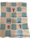 Vintage Crocheted Hand Knit Nursery Baby Afghan CrossStitch Circus Animals Theme