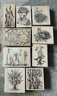 Rubber Stamp Lot Wood Mounted Stamps Lot 11