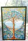Tree of Life Stained Glass Suncatcher Glassmasters brass signed Louis C Tiffany