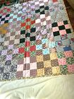 quilt made with real old feed bags lots of different color 62 x 70 inches