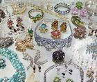 HUGE HIGH END VINTAGE RHINESTONE COSTUME JEWELRY LOT SIGNED BLING
