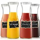 Set of 4 Glass Carafe with Lids  1 Liter Beverage Pitcher Carafe for Mimosa