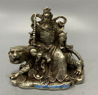 Q Collect China old Tibet silver Hand carved Tiger Guan Yu Statue w QianlongMark