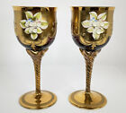 Murano Venetian Ruby Red Hand Painted Wine Glass Goblets Gold Flower Vintage