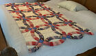 VINTAGE QUILT 72 X 45 DOUBLE WEDDING RING HOMEMADE PATCHWORK BLANKET