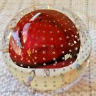 VTG Adam Jablonski Paperweight Art Glass Red Orb Controlled Bubbles Signed Tag