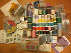 Box of vintage sewing notions 50 thread spools buttons fasteners tools more