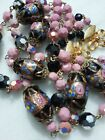 VINTAGE VENETIAN ITALY BIG OVAL PINK AND BLACK GLASS WEDDING CAKE BEAD NECKLACE