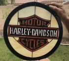 HARLEY DAVIDSON HAND CRAFTED STAINED GLASS LOGO SIGN 13 INCH BEAUTIFUL WOR