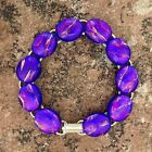 Pink Blue Fused Dichroic Art Glass Jewelry Silver Plated Link Bracelet Handmade