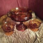 VINTAGE INDIANA AMBER GLASS PEDESTAL BOWL COMPOTE 7 x 7 w candle holders