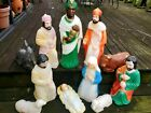 HTF Nativity Blow Mold 11 Piece Set Lighted Christmas 1980s PTN Table Tops