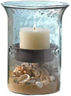 Glass Hurricane Pillar Candle Holder with Rustic Metal Insert Perfect as a